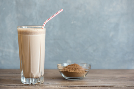 Chocolate Protein Shake. Healthy Sport Fitness Drink with Whey Protein. Chocolate Smoothie.