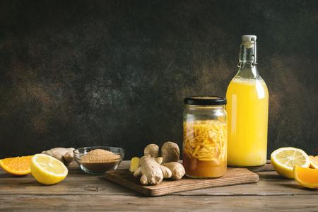 Ginger Bug - Homemade Fermented Probiotic Soda, fruit and ginger organic drink. Reklamní fotografie