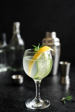 Gin fizz cocktail with lemon, cucumber, rosemary and ice. Gin tonic or gimlet on black background, copy space.