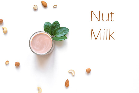 Nut Milk alternative isolated on white background, copy space, top view. Healthy vegan substitute dairy free drink - almond hazelnut cashew milk.