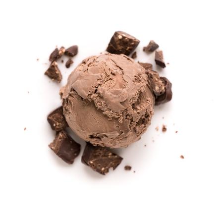 Chocolate Ice Cream isolated on white background, top view. Chocolate icecream with chocolate pieces.