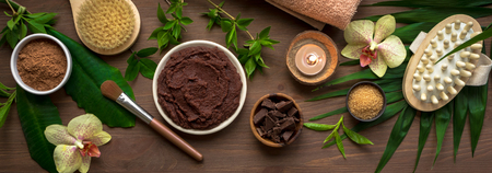 Chocolate Spa composition with plants and flowers, flat lay, banner. Natural spa chocolate products and organic treatment concept on dark wooden background.