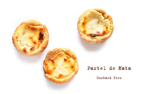 Pastel de nata Portugese egg custard pies isolated on white background, top view, flat lay. 写真素材
