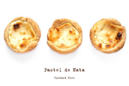 Pastel de Nata Portugese egg custard pies isolated on white background, top view, flat lay.