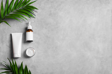Organic cosmetic cream, body lotion and green plants on gray stone background, top view, copy space. Dermatology, natural skin care and spa concept with green palm leaves. 免版税图像