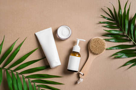 Natural cosmetic cream, body lotion, massage brush and green plants on beige background, top view. Dermatology, organic skin care and spa concept with green palm leaves.