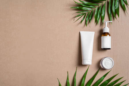 Organic cosmetic cream, body lotion and green plants on beige background, top view, copy space. Dermatology, natural skin care and spa concept with green palm leaves.