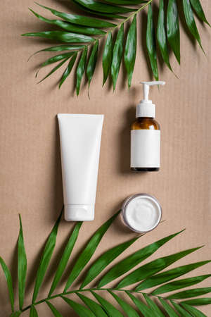 Natural cosmetic cream, body lotion and green plants on beige background, top view. Dermatology, organic skin care and spa concept with green palm leaves.