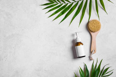 Natural body lotion and green plants on light stone background, top view, copy space. Organic skin care cosmetic and spa concept with green palm leaves.