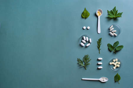Homeopathy, naturopathy and alternative herbal medicine concept. Capsules and pills, green plant leaves on green background, top view, pattern.