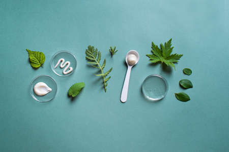 Natural skin care products in petri dish and green leaves on green background, top view, copy space. Natural eco beauty, cosmetic laboratory and organic skin care concept. 免版税图像