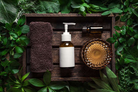spa set, skin care products (body lotion, hair shampoo, face creme, essential oil) on green leaves background, top view. Natural eco beauty and organic green skin care concept.