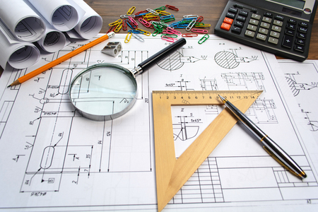 camra: Engineering drawing equipment, paper, ruler and pencil