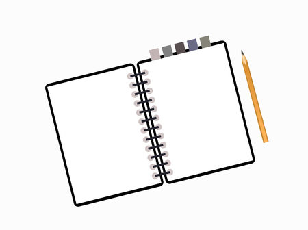 note pad: Notepad, pencil, paper sheet isolated on white background with place for text.