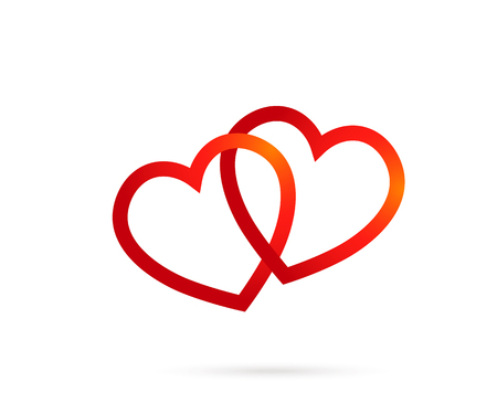 Love Hearts. two hearts connected. vector symbol concept for valentine, couple. Vector EPS 10 Illustration