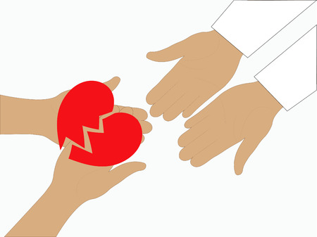 doctor holding gift: Heart in the hands doctor health and medicine. Illustration