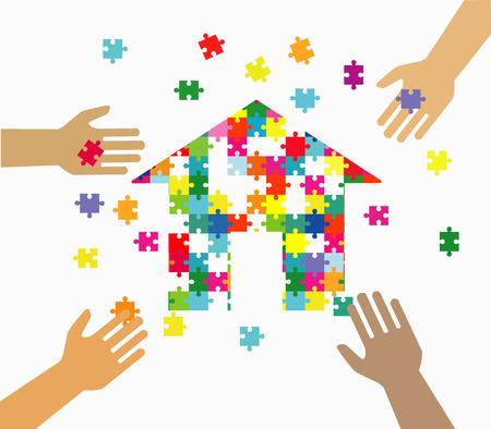 Cuatro manos que juntan pedazos multicolores del rompecabezas. Trabajo en equipo, cooperación, negocios, solución, concepto de trabajo.