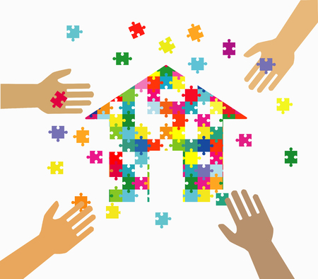 Four hands putting multicolor puzzle pieces together. Teamwork, cooperation, business, solution, work concept.