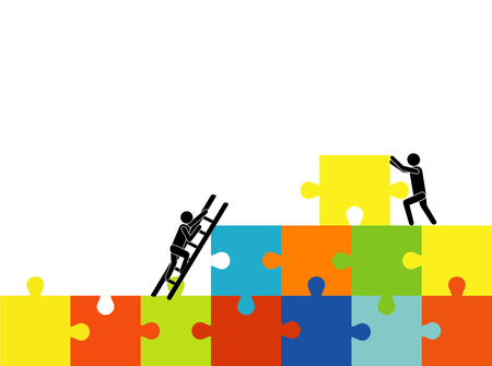 Solution to the problem together. business success concept, People move pieces of jigsaw puzzle for assembling success text cartoon vector illustration