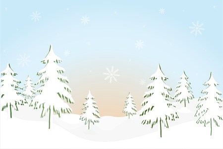landscape with fir trees and mountain, vector illustration