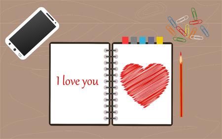 declaration of love, written in pencil in a notebook