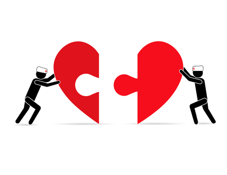 Two people pushing pieces of heart, reuniting it into one. The concept of care, health, support, love. Illustration