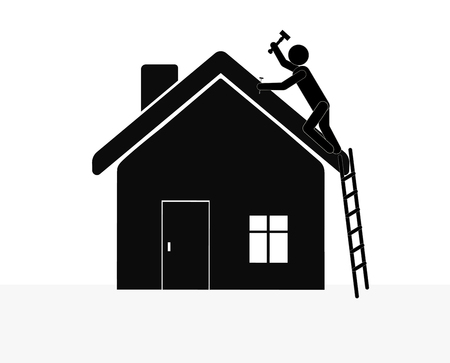 roofer: Man with hammer repairing the house. Illustration