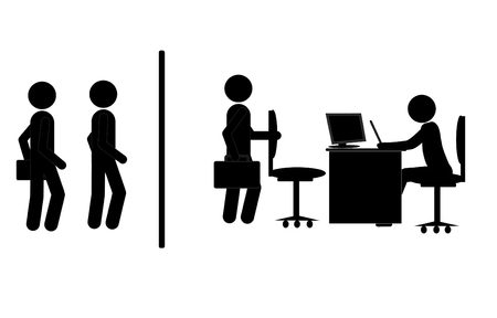 computer education: Employer in the search for new employment of persons. Office. Interview. Recruitment