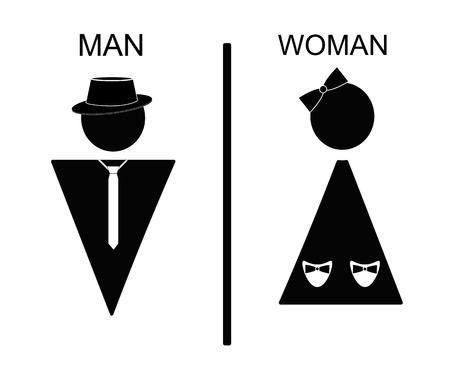 Vecteur homme et icônes femme, signe de toilettes, toilettes icône, style minimal, pictogramme