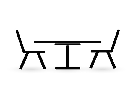 comfortable: Office icon, table and chair Illustration