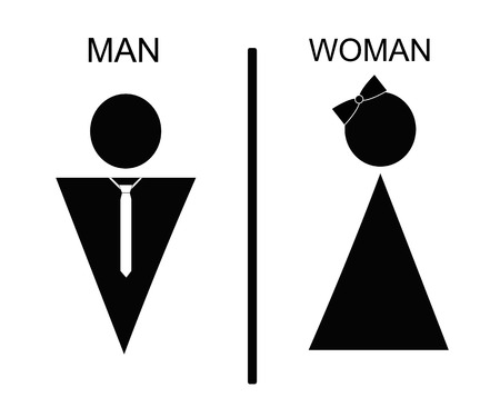 he is public: Vector man and woman icons, toilet sign, restroom icon, minimal style, pictogram