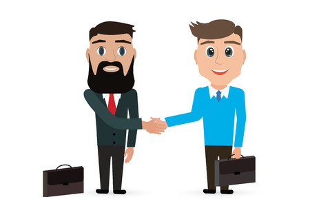 Two business man shaking hands. Illustration vector of business concept.