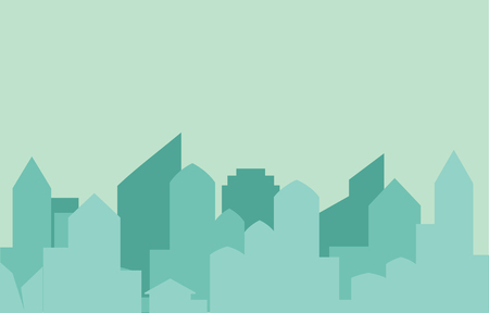 metrology: Modern city skyline on green background Real estate business concept City Skyline icon.