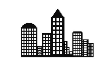 metrology: Modern city skyline on white background, Real estate business concept, City Skyline icon.