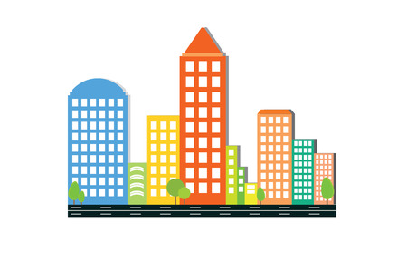 Modern colored (multicolored) city skyline on white background, Real estate business concept, City Skyline icon. Illustration