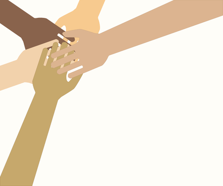 Team symbol. Hands of all the peoples. Family. Friendship. Vector EPS 10.