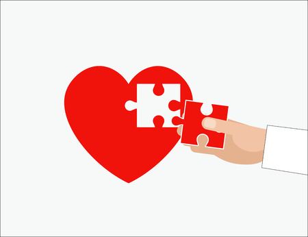 hand holding piece of jigsaw. love concept - vector illustration. Medicine and Health Banco de Imagens - 83261751