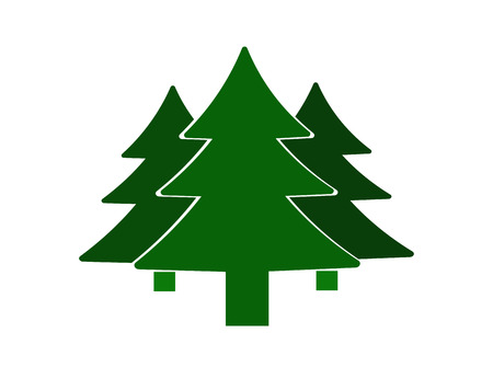 notations: Fir-tree icon. Silhouette of trees. Notations of parks and forests