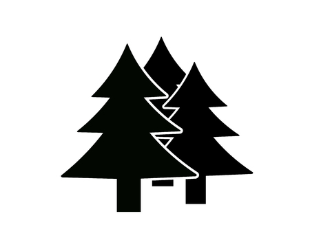 notations: Fir-tree. Silhouette of trees. Notations of parks and forests
