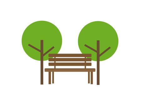 木製のベンチと 2 つのツリーのアイコン