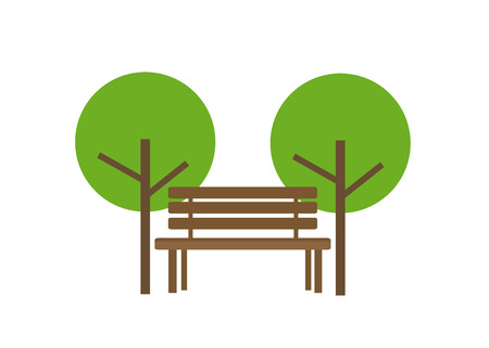 Icon of a wooden bench and two trees Иллюстрация