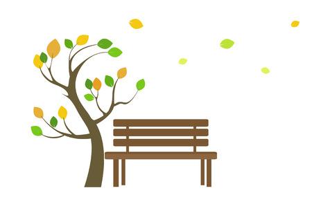 木製のベンチと木のアイコン