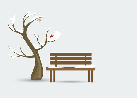 A tree and a bench with snow on them and foliage. Late Autumn, early winter Иллюстрация