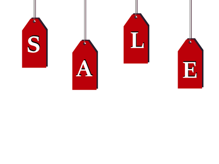 Hanging labels with the word  sale   on a white background. Shares and offer. Business  Finance