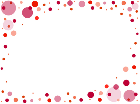 Colorful, bright frame of multi-colored circles on a red background.