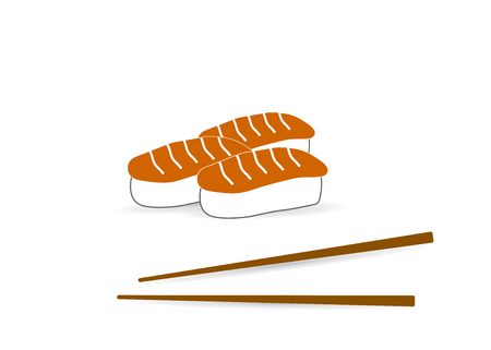 Sushi and roll with chopsticks on white background, color logo template. Monochrome Japanese cuisine