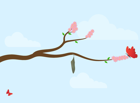 a cocoon of a butterfly on a branch of a flowering tree (sakura) in early spring.