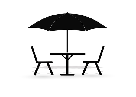 Icon of street cafe - table, chairs and parasol