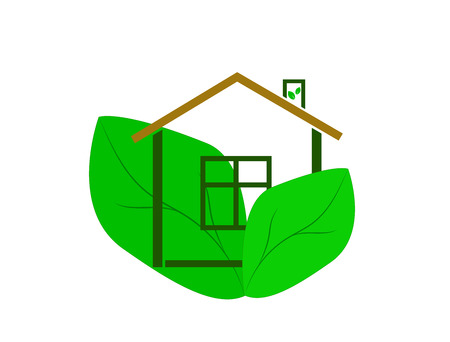 Eco house logo (icon). Flat design.