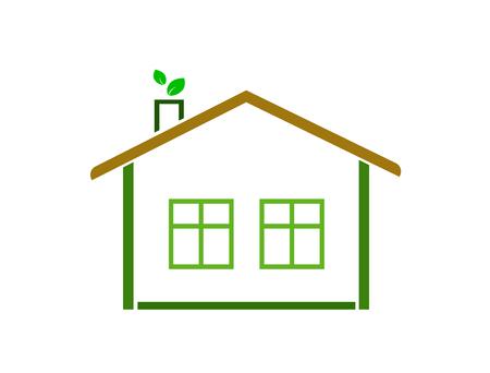 Eco house logo (icon). Flat design. Logó
